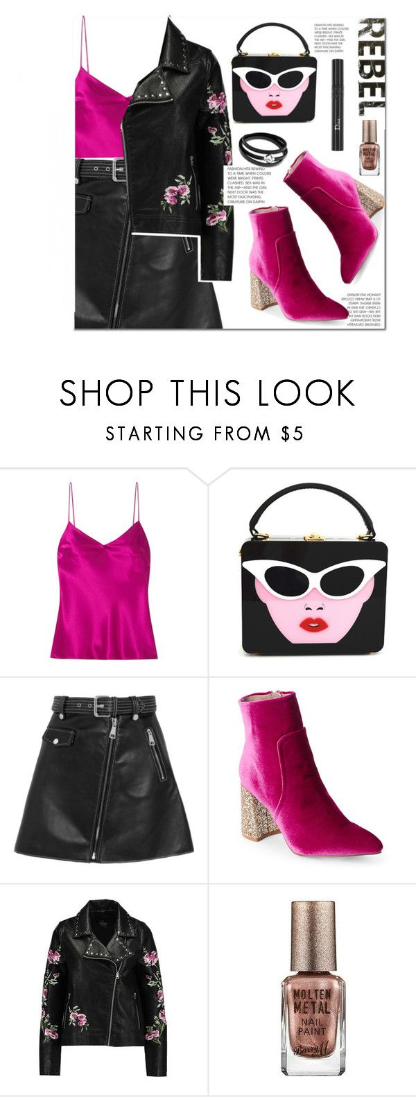 """""""Rebel"""" by kawrose02 ❤ liked on Polyvore featuring Galvan, Maje, Betsey Johnson, Rebel Yell, Christian Dior and Barry M"""