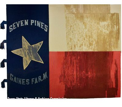 1st Texas Battle Flag. At Antietam was part of Hood's Texas Brigade, the 1st Texas was sent into the Cornfield as part of a counterattack on the morning of Sept 17th.  Driving the Federal lines back, the 1st Texas was later caught in a maelstrom of bullets and artillery shells that killed or wounded 186 men out of the 226 that they brought into the battle. Eight different color bearers were shot down while carrying this flag in the Cornfield. This flag was captured during the unit's…