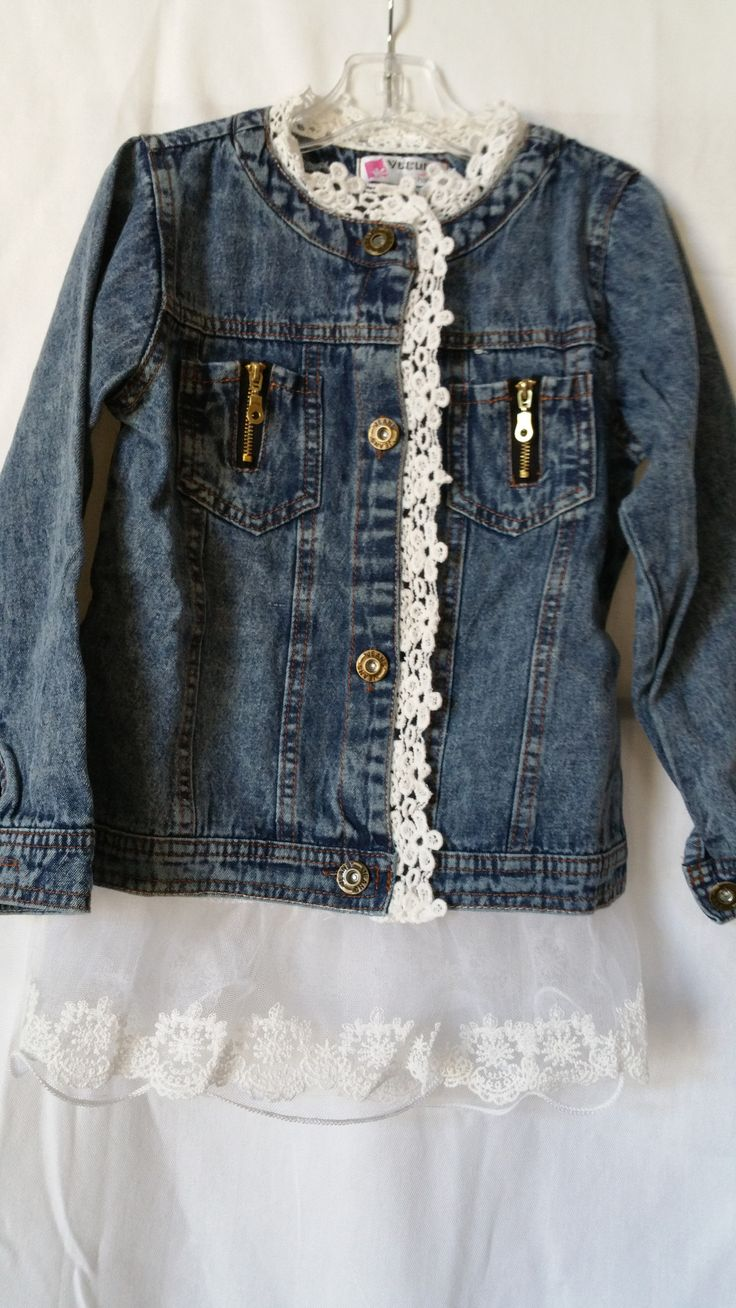 Denim Jacket with lovely ivory lace at neckline, sleeves, and hemline.