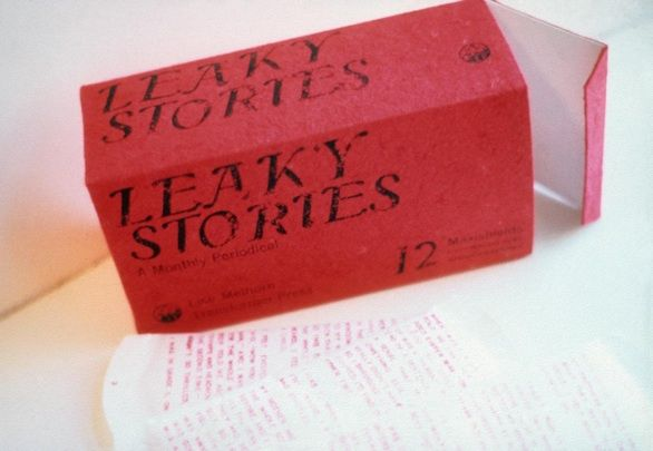 Sanitary napkins, fabricated from Japanese paper, are rubber-stamped in red, with embarassing stories about menstruation. 1985, Toronto. 10? pages. (Box: 8.5 x 5 x 3.25″) Edition of 8. Collection: Art Gallery of Ontario, Library and Archives Canada.