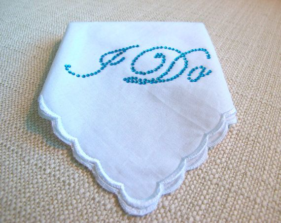 Love this!!!!!!!    Wedding Bridal Hankie with Crystal I DO  for your Something Blue Lingerie. $22.00, via Etsy.