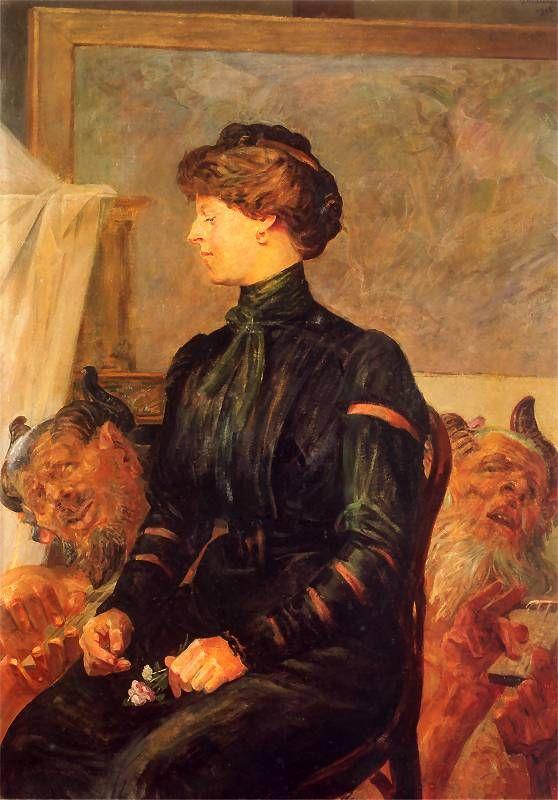 Jacek Malczewski - Portrait of the Artist's Wife with two fauns