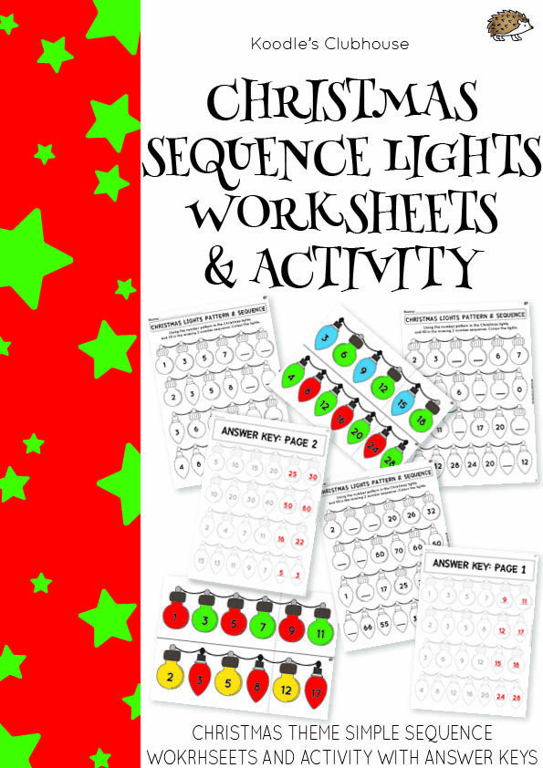 Christmas Sequence Lights Worksheets Math Lessons Classroom