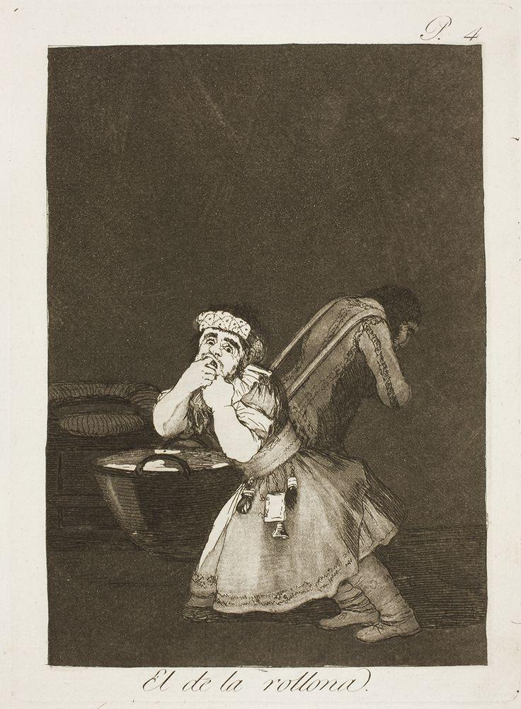 """Francisco de Goya: """"El de la rollona"""". Serie """"Los caprichos"""" [4]. Etching and aquatint on paper, 205 x 150 mm, 1797-99. Museo Nacional del Prado, Madrid, Spain"""
