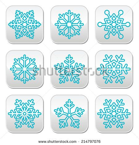 Snowflakes, winter blue decoration buttons set by RedKoala #xmas #christmas