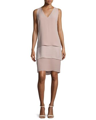 Belinda+Sleeveless+Tiered+Dress,+Rose+by+Ralph+Lauren+Collection+at+Neiman+Marcus.