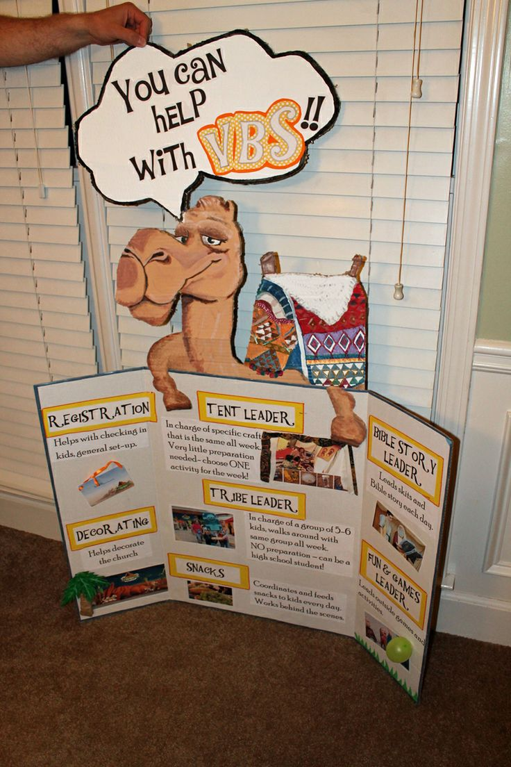 Display for the lobby at our church explaining the different roles and ways that people can help with Wilderness Escape VBS!