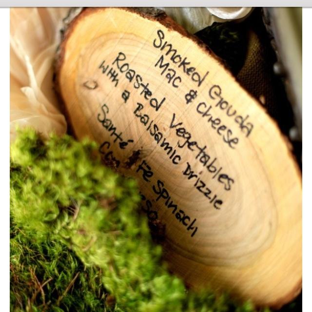 Rustic Barn Wedding Food Ideas: Wood Stump Menu- Rustic Food Labels