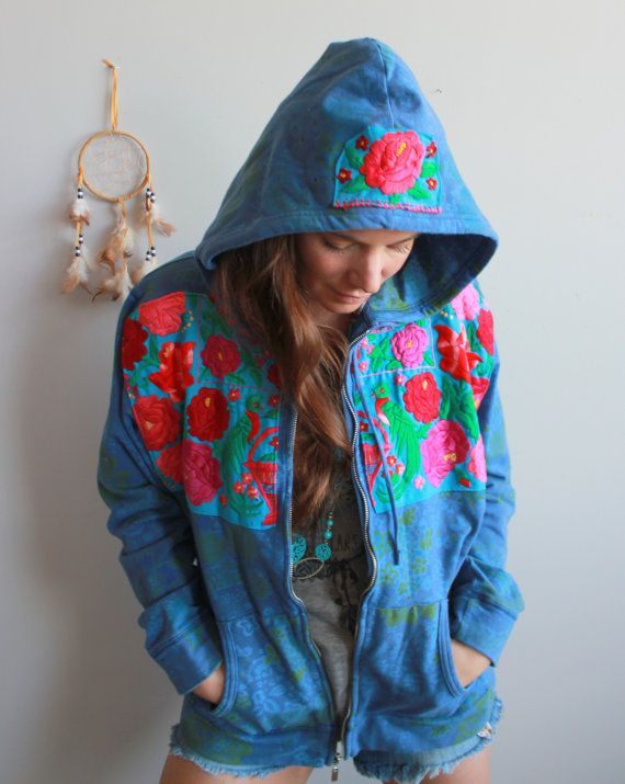 Floral Print Teal Blue Mexican Embroidered Flower Eco Chic Bohemian Hippie Upcycled Zip Up Hoodie Hooded Sweatshirt Sweater Festival XL