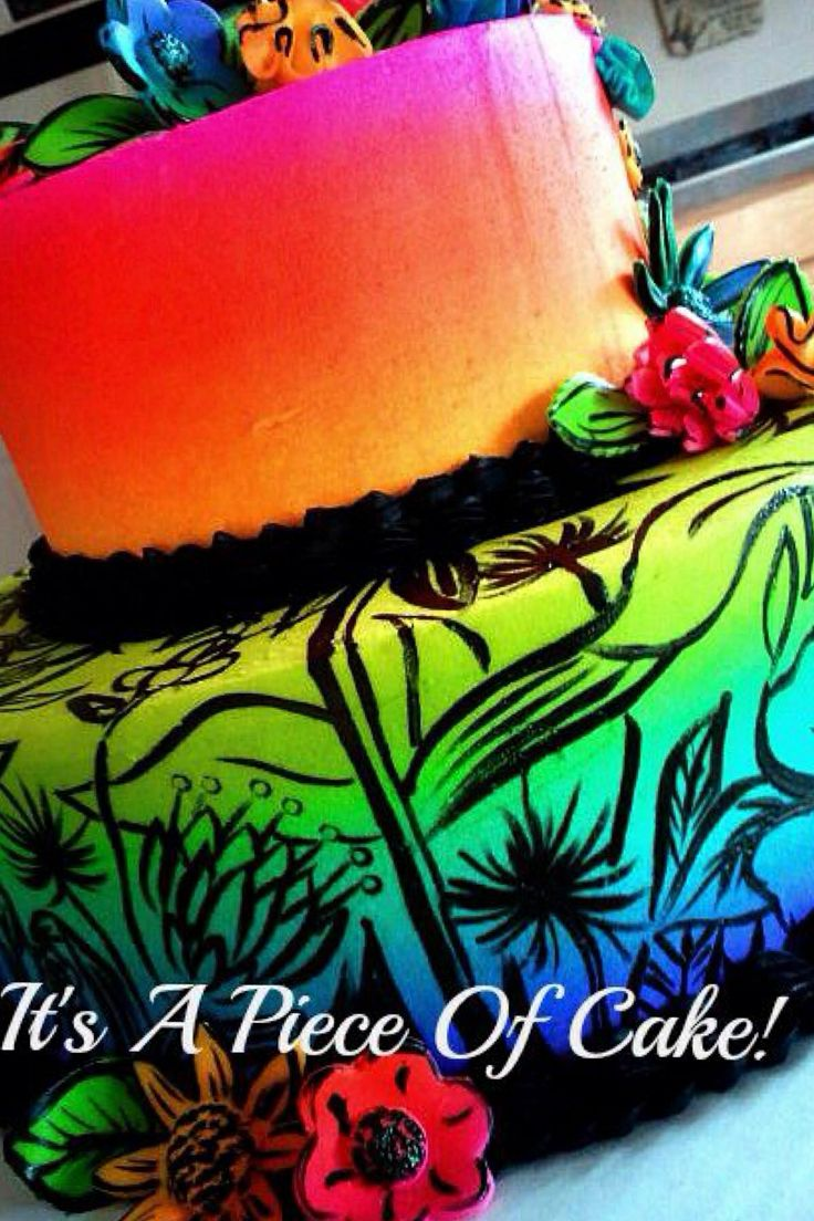 Neon colored cake beautiful cakes pinterest cakes for Airbrush for cake decoration