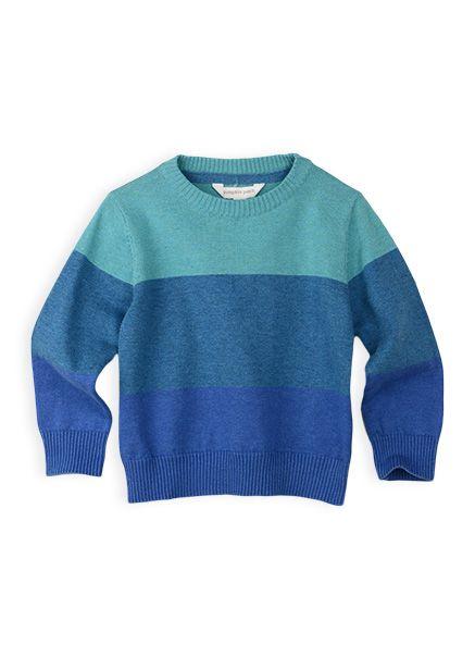 Pumpkin Patch - knitwear - tri stripe knit jumper - S4TB30003 - delft blue - 12-18m to 6