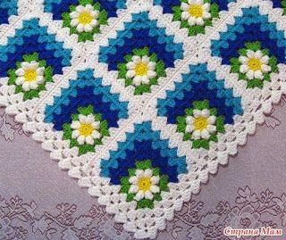 Crochet Knitting Handicraft: Children plaid squares