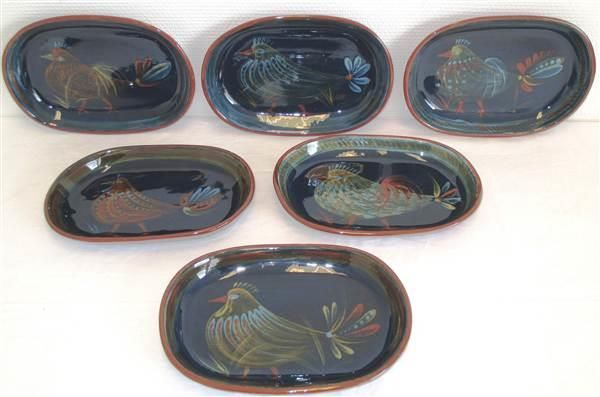 3130. 6 Keramikk asjetter m/ fuglemotiv signert Kari Nyguist - Selges av Fretex Moss fra Moss på QXL.no