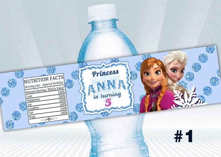 Disney Frozen Water Bottle Label. Frozen printable. Digital Downloads File.