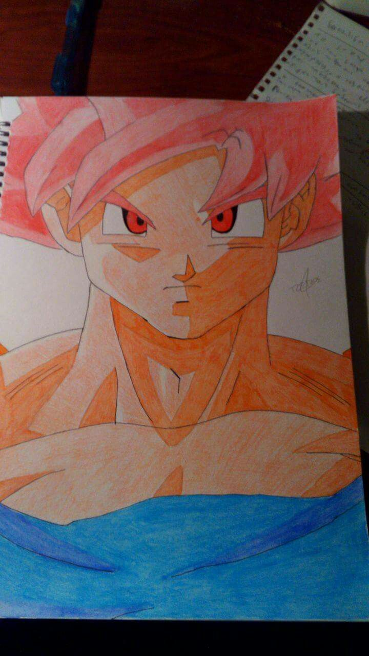 Goku super saiyan god drawing