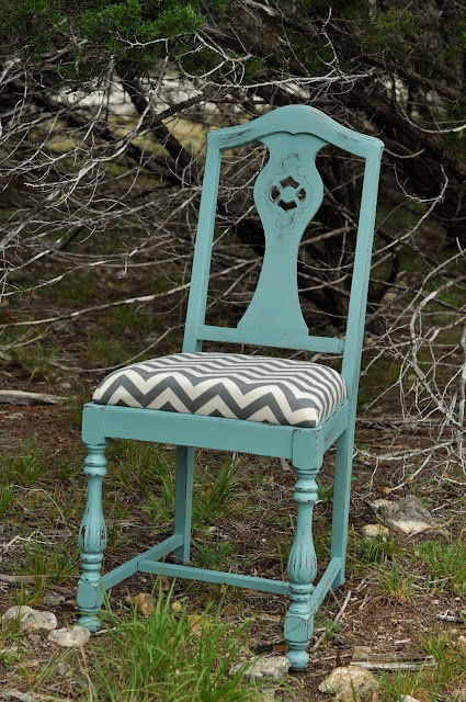 Aqua Chalk Painted and Chevron Upholstered Chair.