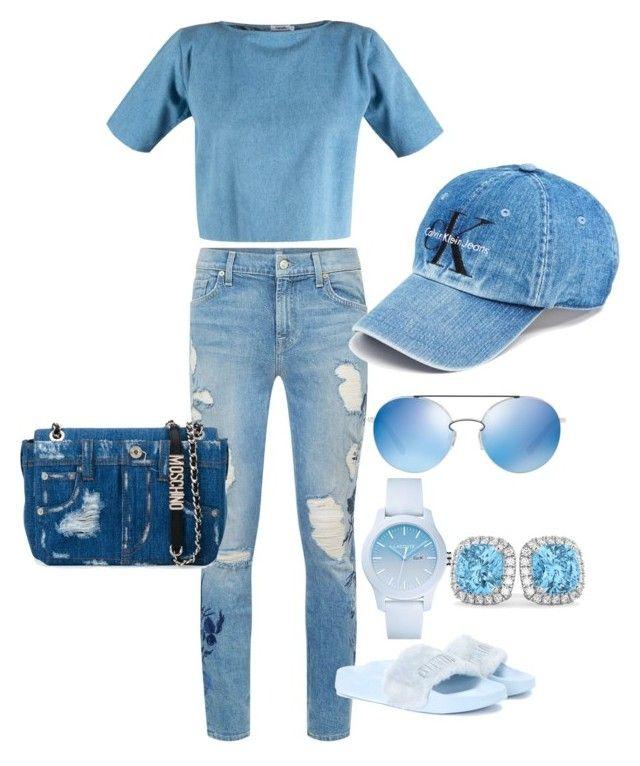 """Blue"" by bchl on Polyvore featuring moda, 7 For All Mankind, Calvin Klein, Moschino, Puma, Valentino, Lacoste y Allurez"
