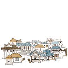 hanok roof illustration - Google Search