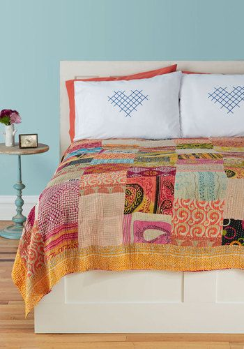 Patchwork, Present, and Future Quilt by Karma Living - Orange, Orange, Boho, Multi, Multi, Patch