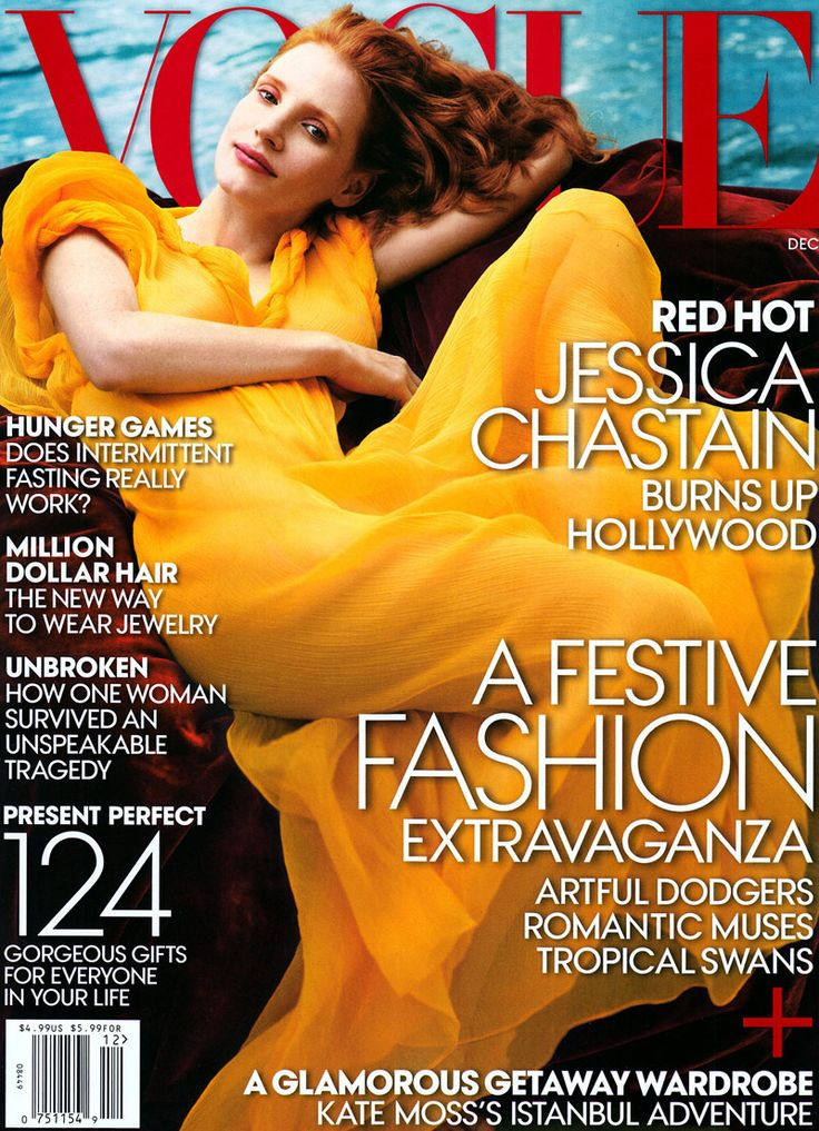 jessica chastain vogue cover Jessica Chastain is Like a Painting for Vogues December 2013 Cover
