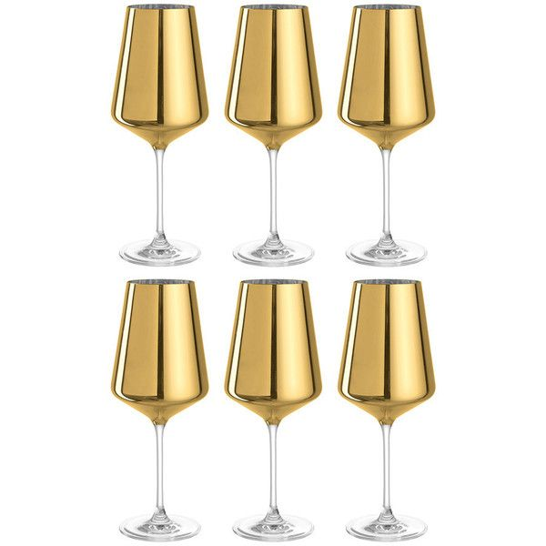 Leonardo D'Oro Wine Glass - Set of 6 - Gold ($81) ❤ liked on Polyvore featuring home, kitchen & dining, drinkware, metallic, gold wine glass, slanted wine glasses, gold wine glasses set, gold glassware and leonardo glassware