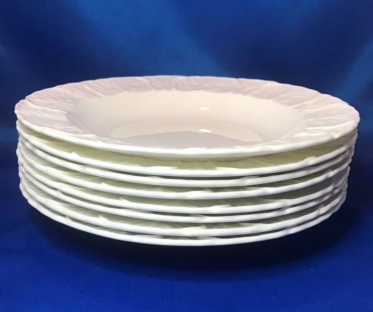 Coalport Countryware Large Rim Soup Bowl Set of 8 White Embossed Cabbage Leaves #Coalport