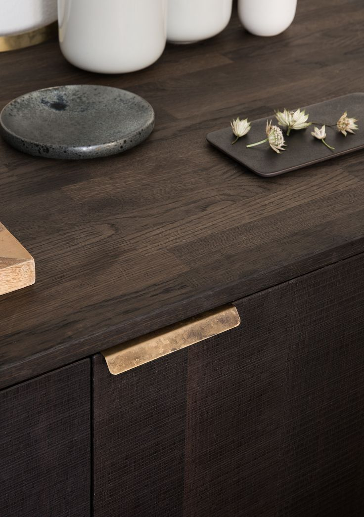 Reform / Kitchen / Design by Norm / Home / Interior / Design / The Norm kitchen hack for Reform is simple, but exclusive in its timeless design. Norm Architects' kitchen design in sawn smoked oak with a table top in solid smoked oak and bronzed tombac handles.