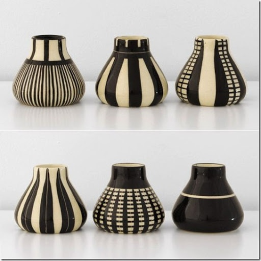 Ceramic vases vessel clay art black and white pottery art by Hedwig Bollhagen