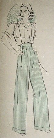 """Vintage Style Side Button Trousers """"Vintage Reproduction""""  Very similar to my PATSY trouser - this classic trouser features wide straight legs with turn up cuffs, high waistband, pleated front...but t"""