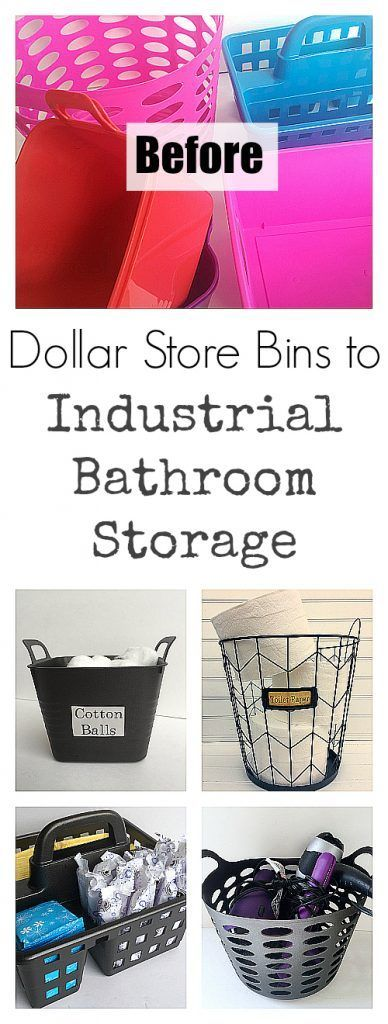 Organizing containers can get pricey, but adding a few touches to brightly colored Dollar Store Bins provides a budget-friendly way to create industrial style storage for your bathroom. #ad #DesignedMega