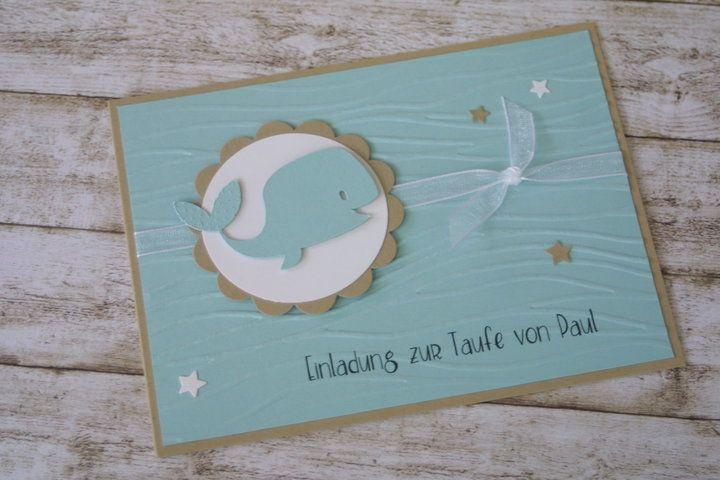 Zuckersüße Einladungskarte Zur Taufe Mit Kleinem Wal Und