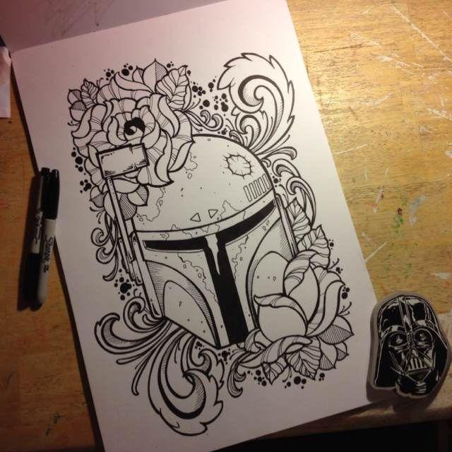 Boba Fett tattoo design by James Mullin Tattoos.