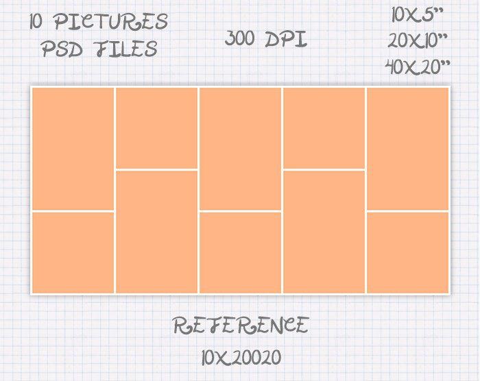 Plantilla storyboard foto collage 5x10 10x5 10x20 20x10 20x40 40x20 pulgadas apaisado y retrato (10 fotos) ref 10x20020 de JuanmiDesigns en Etsy