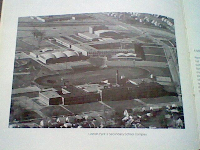 HORNET'S NEST yearbook 1975-1976 sky view of Huff Jr. High School in foreground Grade Levels were 7,8,9. And  Lincoln Park High School in the background for Grade levels 10,11,12. Nearest intersection Champaign and Lafayette. Huff Jr. High is not there anymore.Courtesy Frank Vergari Family.