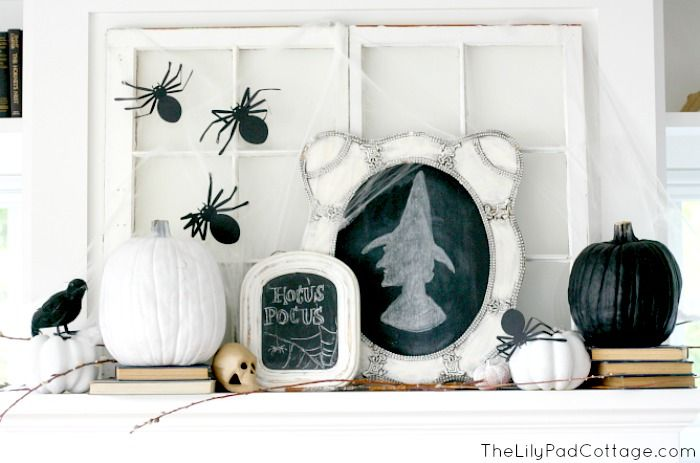 Halloween Mantel - Spiders, Witches and Skulls Oh My! - The Lilypad Cottage