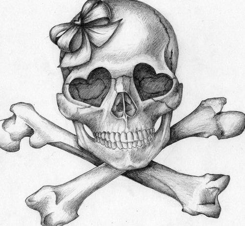 #Skull #Crossbones #Hearts