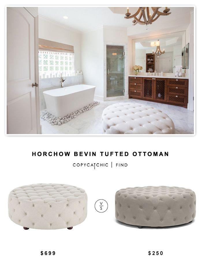Horchow Bevin Tufted Ottoman $699 Vs Overstock Baxton Studio Cardiff Linen Modern  Tufted Ottoman $250