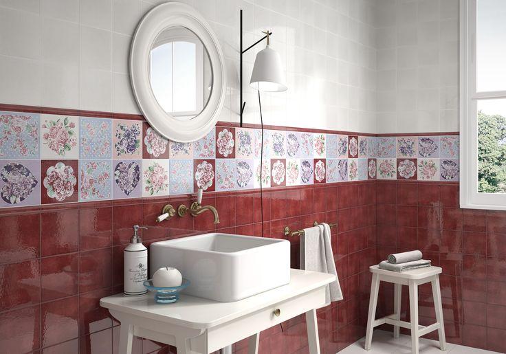 Azulejos Baño Vintage:Keraben – Serie Collage Vintage Love En este baño se han combinado