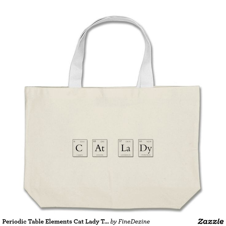 Periodic Table Elements Cat Lady Tote