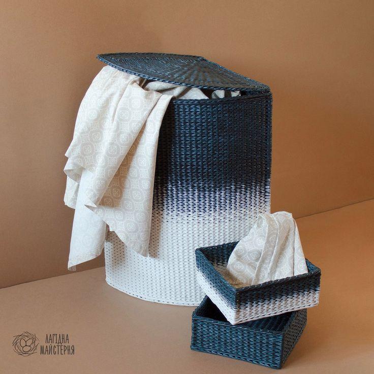 Корзина для белья (плетение из бумажной лозы, газет, бумажных трубочек, basket weaving, paper, wicker box, navy basket, handmade, white and blue, bathroom basket)