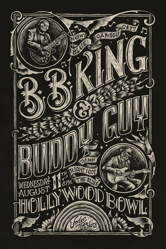 Can't tell if it's scratch board or an effect, but I love the type and texture either way! BB King poster  by Christopher Martin (lastmatchstudios.com/)