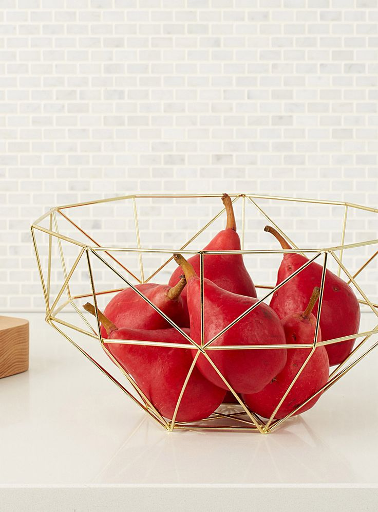 Gold metal fruit basket | Simons Maison | Decorative Fruit Bowls and Baskets for the Table Online | Simons