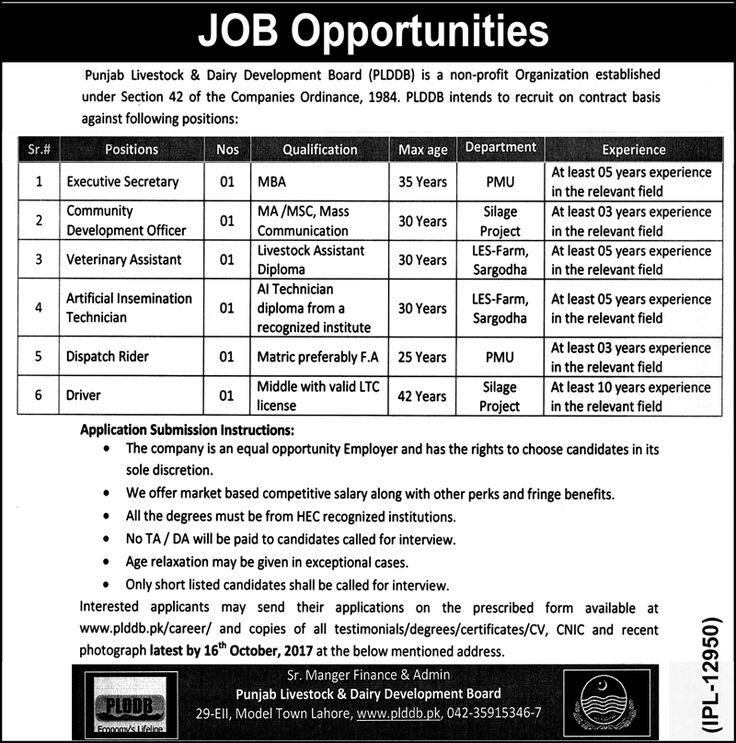 Punjab Livestock And Dairy Development Board Jobs 2017 In Lahore For Executive Secretary And Veterinary Assistant http://www.jobsfanda.com/punjab-livestock-and-dairy-development-board-jobs-2017-in-lahore-for-executive-secretary-and-veterinary-assistant/