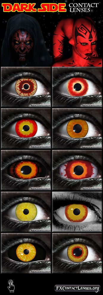 Tap into the dark side with evil, menacing eyes. Dress up and Pay homage to your favorite Star Wars character for the next Star Wars event, movie release, or cosplay show.  Follow link to learn more about these character-inspired special effects contact lenses: http://fxcontactlenses.org/dark-side-contact-lenses.html  Images Attribution: Maul in image artwork provided by: Marcus Whinney - Darth Talon in image artwork provided by Aphrodite-NS / Modification: Added in eyes & surrounding images