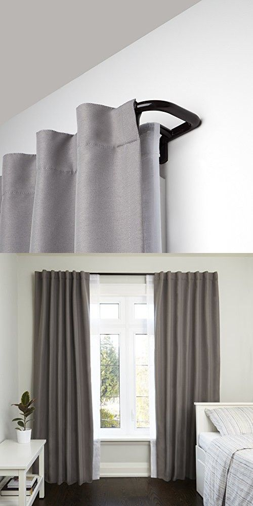 Umbra Twilight Double Curtain Rod Set – Wrap Around Design is Ideal for Blackout Curtains or Room Darkening Curtains, 48 to 88 Inch, Auburn Bronze