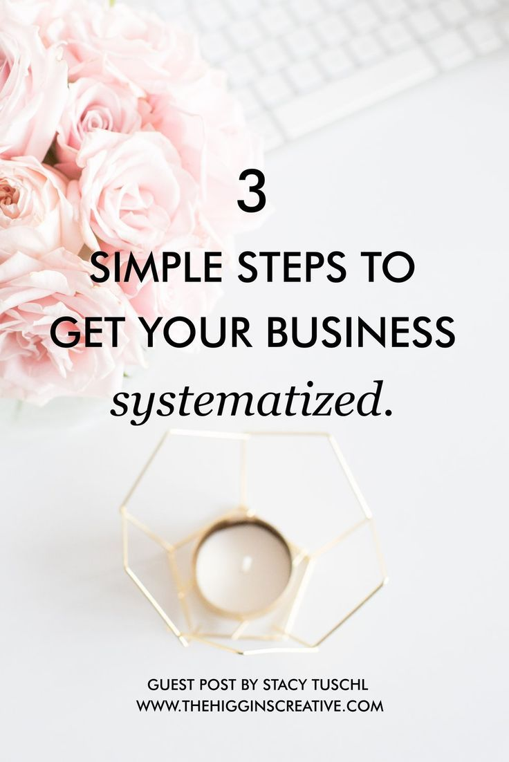 3 simple steps to get your business systematized by Stacy Tuschl. Break down all the systems you need to keep your business organized and productive.