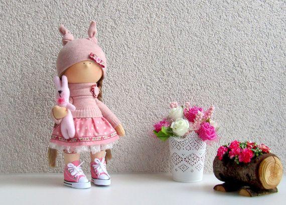 Jessie Doll-Handmade Doll-Fabric Doll-Rag Doll-Textile Doll-Handmade Doll-Home Decoration Doll-Interior Doll-Cloth Doll-Pink bunny hare Doll