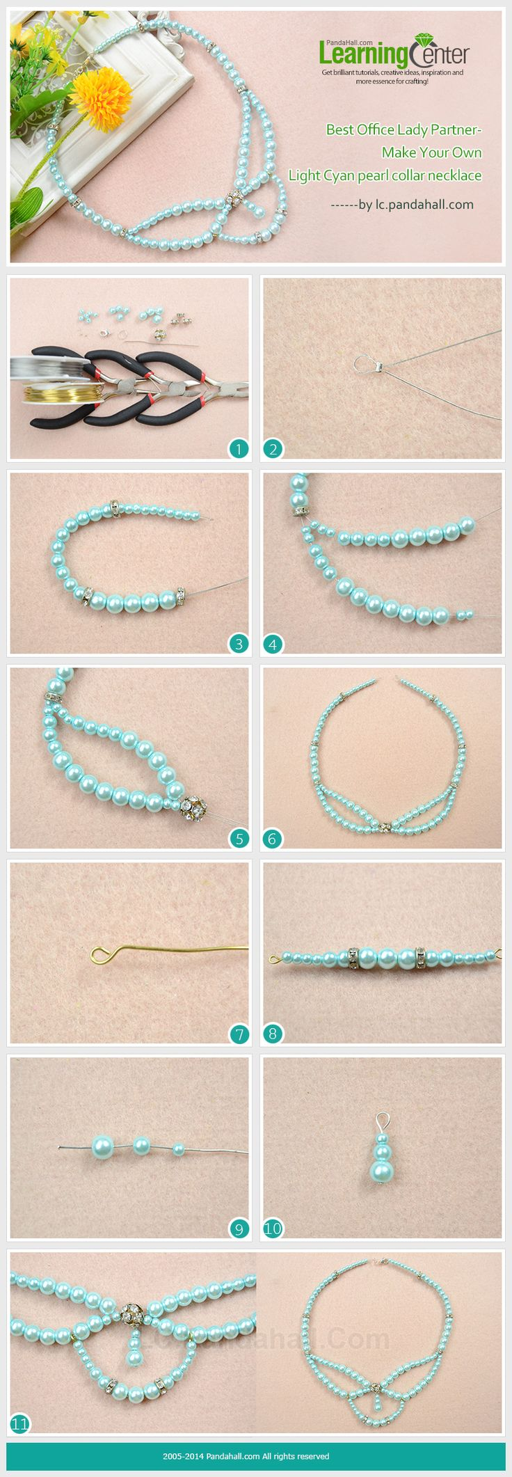 Best Office Lady Partner-Make Your Own Light Cyan Pearl Collar Necklace