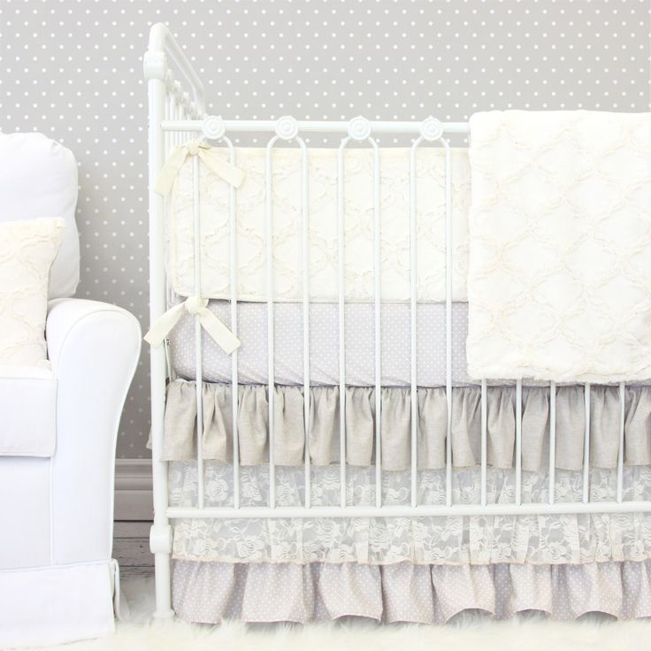 A gorgeous neutral tone crib bedding that can look elegant in a sophisticated baby girl's nursery or take on a more rustic look. <3