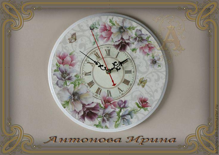 """Часы-""""Романтика"""" - белый,цветы,часы,часы настенные,часы интерьерные,часы для дома"""